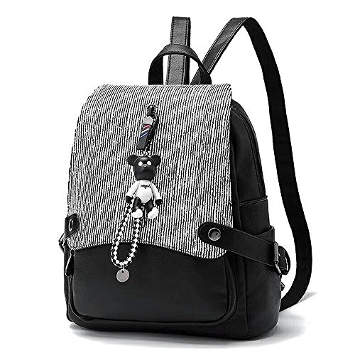 (jvp1073-b3) Bag Ladies Pu Leather All 5 Colors Large Capacity Bag Travel Back Fashionable Ladies Black Light Simple Popular Suburban School 3