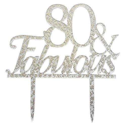 Glitter Silver Acrylic 80 & Fabulous Cake Topper, 80th Birthday Party Cupcake Topper Decoration (80, Silver) ()
