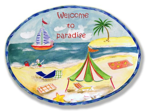 Stupell Home Welcome To Paradise Oval Beach Plaque (Hanging Wood Oval Plaque)