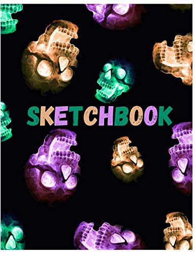 Sketchbook: Cute Skull Sketchbook for Adults/Children to Sketching, Whiting, Drawing, Journaling and Doodling, Large (8.5x11 Inch. 21.59x27.94 cm.) ... (LIGHT GREEN&BROWN&PURPLE&BLACK Pattern)]()