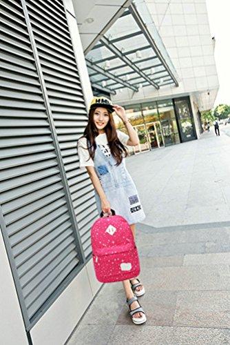 WanYang 2 Piezas/ 3 PiezasLona Backpack Mochilas Escolares Mochila Escolar Casual Bolsa Viaje Rosa