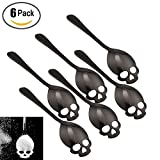 6 Pack Stainless Steel Spoons 304 Sugar Spoon Skull Shape for Coffee and Tea Stirring Spoon Golden Silver