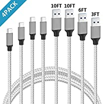 USB Type C Cable,Additt USB C Cable 4 Pack 3FT 6FT 10FT 10FT Type-C Charging Cable to USB Cable Nylon Braided Long Cord Type C (USB-C) to USB Fast Charger Cable Compatible with USB Type-C Devices Including Samsung Note 8,Galaxy S8,Apple New Macbook, Nexus 6P 5X,GooglePixel,LG G5 G6 (White)