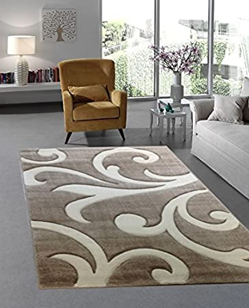 Moderner Designer Teppich Wohnzimmer Kurzflor Meliert 3D Konturenschnitt    160x230 Cm   Schadstofffrei   Braun Beige