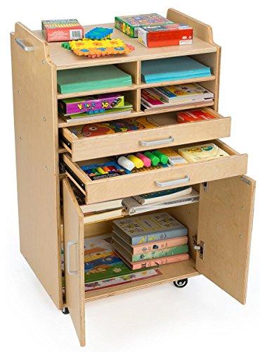 Displays2go Mobile Crafts Cart for Kids, Baltic Birch Wood, 4 Cubbies, Shelf – Natural Finish (DCFARTUSC) ()