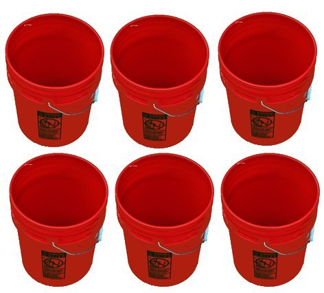 5 Gallon Buckets Six (6) Pack | Plastic | Red ()