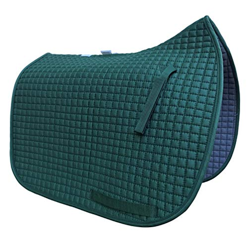 Dressage Saddle Pad | Box-Quilted Cotton/Foam | PRI Pacific Rim (Hunter Green w/Matching Piping) ()