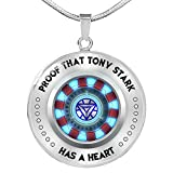 iron arc reactor - Fa Gifts Iron Man Arc Reactor, Iron Man Necklace, Iron Man, Proof That Tony Stark Has A Heart Circle Necklace for Men & Women - Luxury Necklace Silver - Includes Gift Box!