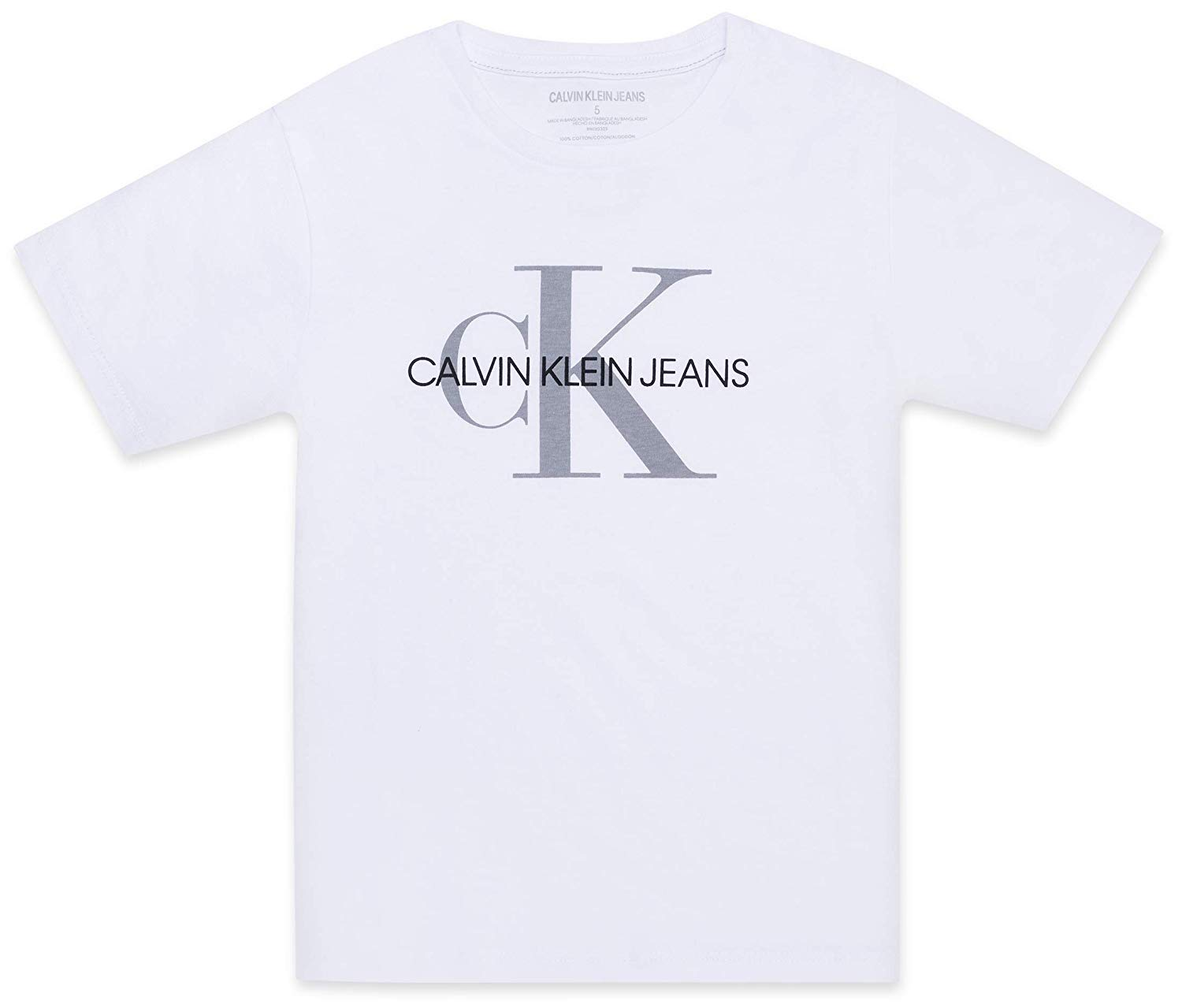 Calvin Klein Boys' Big Classic Ck Logo Crew Neck Tee, White, Medium (10/12)