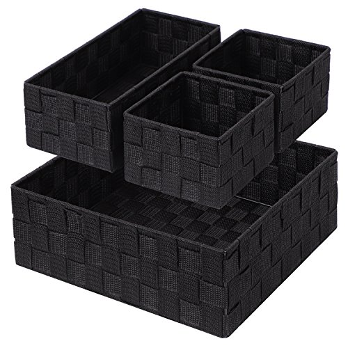 Wicker Basket Shelf (Posprica Woven Storage Box Cube Basket Bin Container Tote Organizer Divider for Drawer,Closet,Shelf, Dresser,Set of 4 (Black))