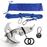 H&C Multifunctional Gravity Hook With 6mm 10M Safety Auxiliary Rope and Lock Buckle Magnetic Folding Climbing Grappling Hook for Your Outdoor Life