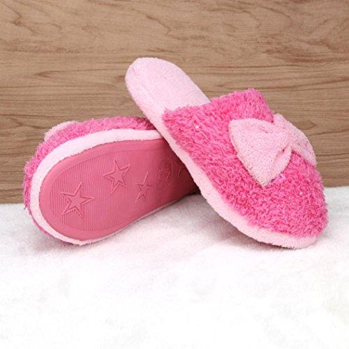 Ama (tm) Donna Morbido Caldo Cotone Bowknot Pantofole Interne Antiscivolo Rosa Caldo