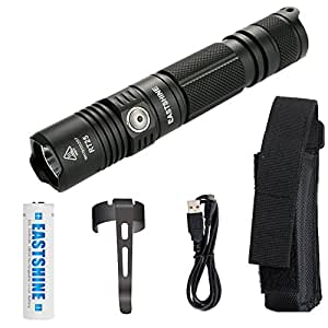USB Rechargeable Professional Tactical Flashlight, EASTSHIEN RT25 CREE XP-L HI V3 LED 1000 lumens Compact Handheld Torch Portable Outdoor Light & 3500mAh 18650 Battery