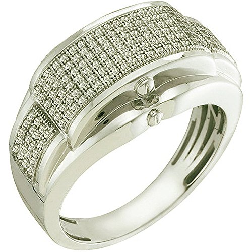 0.50 Carat (ctw) 10K White Gold White Diamond Men's Micro Pave Hip Hop Wedding Band by DazzlingRock Collection