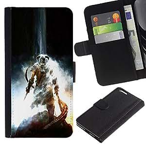 LECELL--Cuero de la tarjeta la carpeta del tirón Smartphone Slots Protección Holder For Apple Iphone 6 PLUS 5.5 -- Dracónido Guerrero --