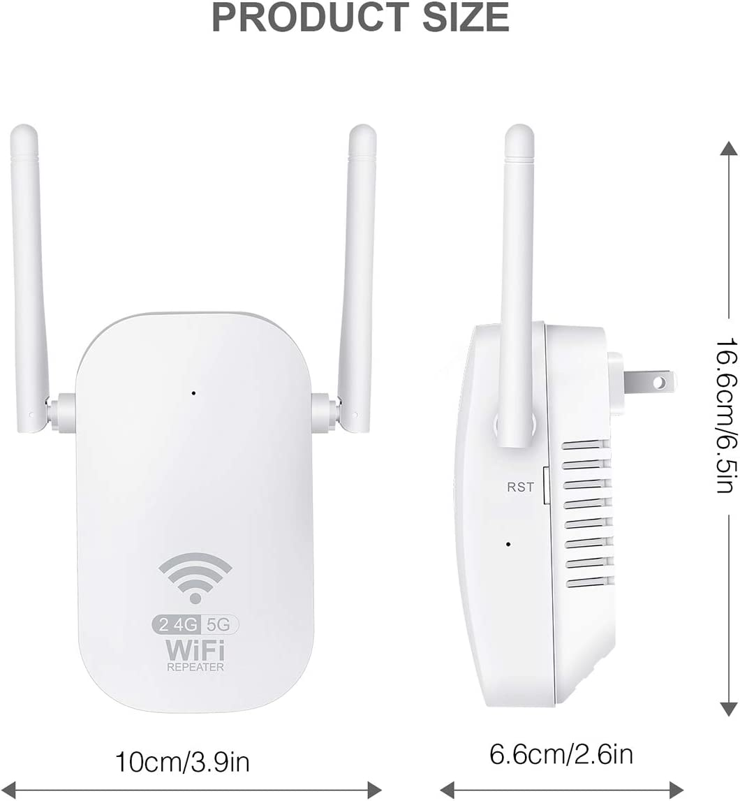 WiFi Range Extender Enjoy Gaming Movies 2000FT Wide Range of Signals 1200Mbps WiFi Booster AC1200 Repeater 2.4 /& 5GHz Dual Band WPS Wireless Signal Strong Penetrability