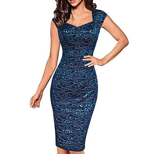 - Toimothcn Women Cap Sleeve Lace Bodycon Wrap Dress Solid Slim Cocktail Party Pencil Dress(Blue,XXXL)
