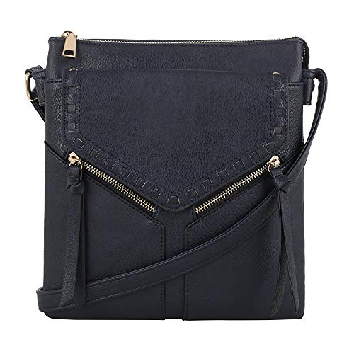 (Double Compartment Purse Lightweight Medium Crossbody Bag with Multi Pocket | Navy)