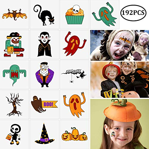 192PCS Assorted Halloween Temporary Tattoos Party Favors - Goody Bags Fillers Kids Trick Or Treat - Pumpkin/Skull/Ghost/Monster Supplies ()