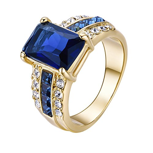 ing 18k Gold Plated Solitaire Gemstone Blue Rhinestones for Girl Accessory Party Meeting (Blue Gemstone Ring)