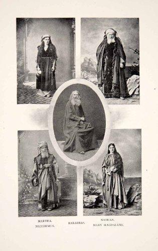 1901 Print Oberammergau Costume German Passion Mary Magdalene Nicodemus Barabbas - Original Halftone Print