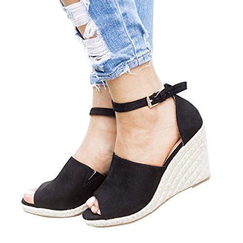 a151332978b Enjoybuy Womens Summer Espadrille Wedge Sandals Peep Toe Suede Leather  Ankle Strap Platform Shoes