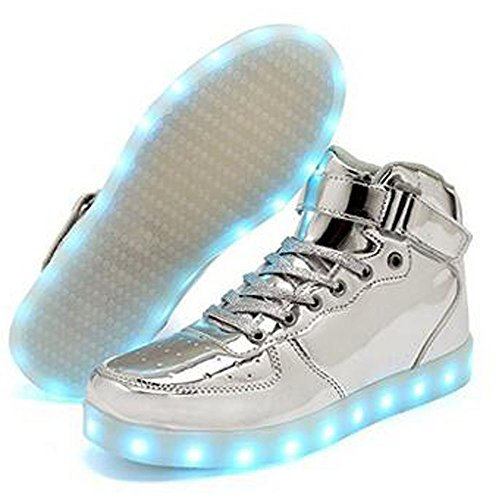 for Shoes Light Kids Energy amp;Teens High Girl Sneakers Top up Boy Children Lights Silver KUshopfast and Led AOxtTqAw