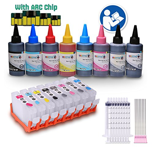 INKUTEN - 4 Easy-to-refill Cartridges for Canon CLI-42 CLI42 PIXMA PRO 100 with 8x100ml Premium Dye ink (Refill Canon Pixma)
