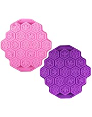 Rilla Mart 2pcs/lot 19 Cavities Silicone Honeycomb Beeswax Ice Jelly Chocolate Soap Mould Bee Cake Pan Candy Making Molds