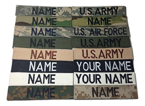 Customized Name Tape With Fastener, ACU Multicam OCP Black ABU OD Green Desert CivilAirControl, with Fastener - US ARMY US Air Force USAF MARINES POLICE ....... (with Fastener)