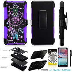 For ZTE MAX XL N9560 /3Items [Clear LCD Film]+Stylus Pen+[Impact Resistance] Dual Layer [Belt Clip] Holster Combo [KickStand] Phone Case Dream Catcher - Purple