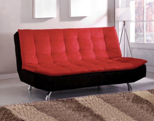 Furniture of America Velma Duotone Microfiber Futon Sofa, Red and Black ()