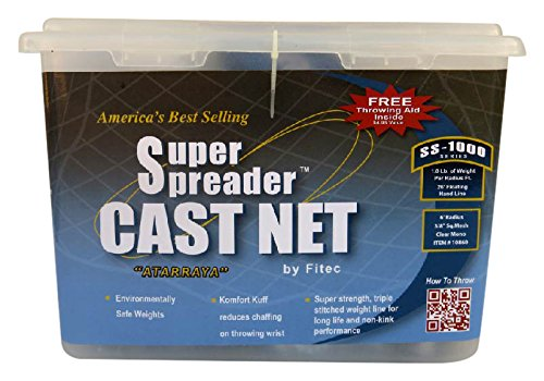 FITEC 11140 4 ft. SS1000 Super Spreader Cast Net 0.25 in. Mesh, Clear, 1 lbs.   B003ZZ9EAO