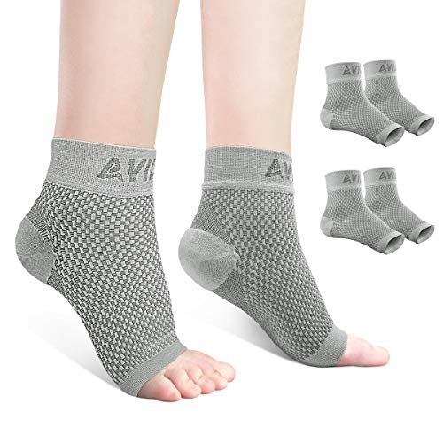 AVIDDA Ankle Brace for Men Women 2 Pairs Plantar Fasciitis Socks with Arch Support Open Toe Compression Foot Sleeve for Achilles Tendon Support Sprained Ankle Swelling Flat Feet Gray L
