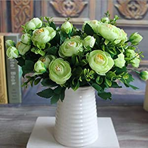 GSD2FF 6 Branches Vivid Fake Peony Flower Silk Flower Autumn Artificial Flowers Wedding Home Party Decoration,5 12