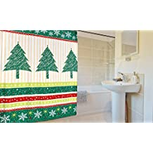 "Felices Pascuas Collection Christmas Fabric Shower Curtain (70"" x 72"") - Tannenbaum"