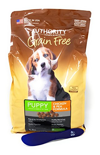 Authority Grain Free Puppy Dry Dog Food - Chicken & Pea, 5lbs with Especiales Cosas Mixing Spatula