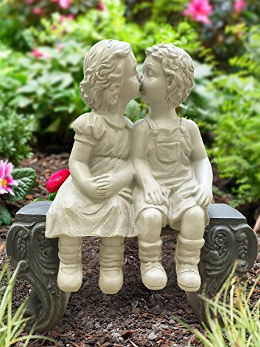 Adorable Kissing Boy and Girl On The Bench Roman Style Sculpture Indoor Outdoor Garden Decor Accent