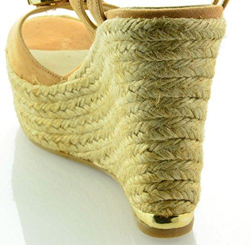 Beige Modèle Elegance Femme compensées Espadrilles Sandales MTBALI IqY7Rw
