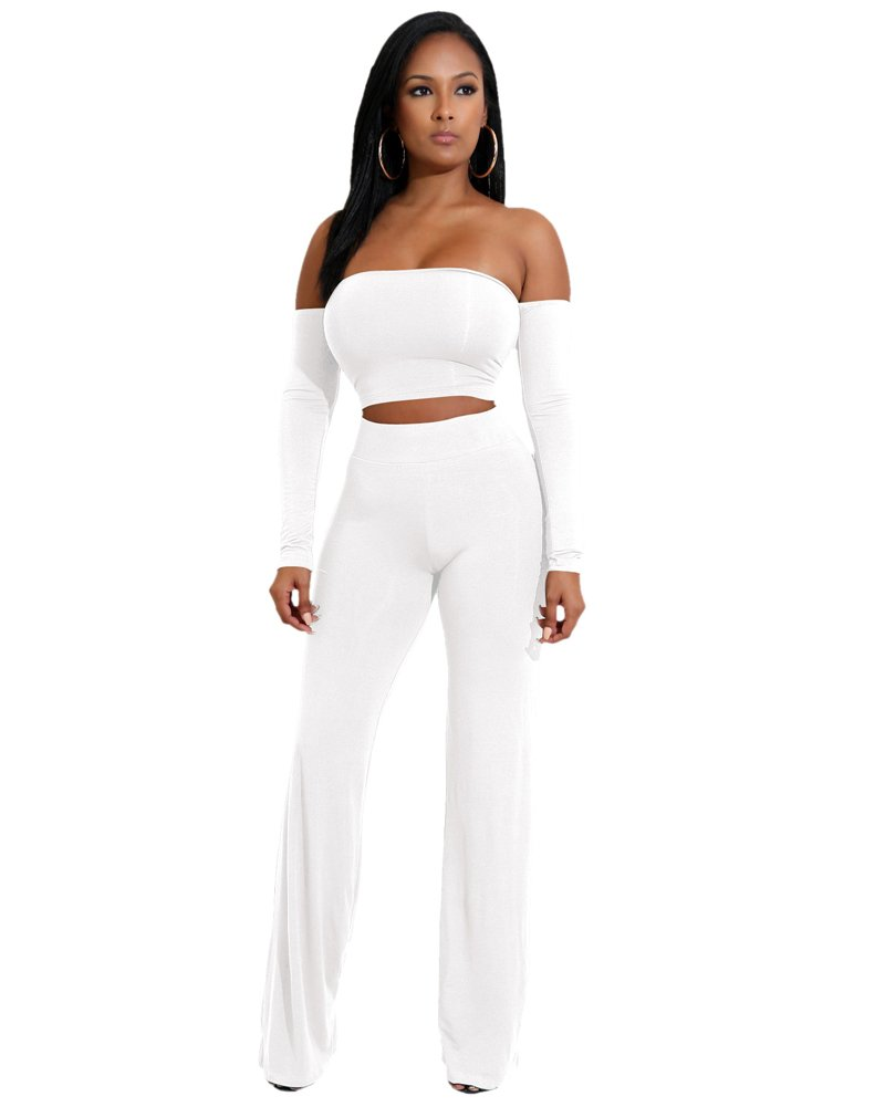 Romacci Women's 2 Piece Outfits Lace up Off Shoulder Long Sleeve Backless Crop Top+Long Pant Bodycon Jumpsuit Skinny Romper