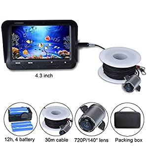Fish Finder Camera 720P 2MP 130° Underwater Video Fishing Camera System Kit 4.3 Inch Monitor 12h Working Time 30m Cable
