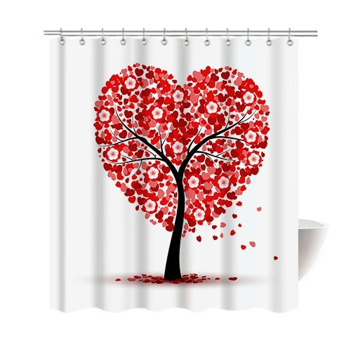 [Gwein Hearts with Flower Tree valentines Day Shower Curtain Polyester Fabric Mildew Proof Waterproof Cloth Shower Room Decor Shower Curtains] (Mounted Animal Head Costume)