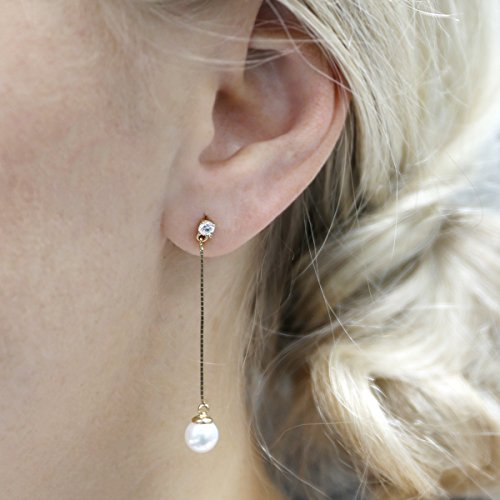 14k White Gold Cubic Zirconia Freshwater Cultured Pearl on Dangling Chain Earrings by Beauniq (Image #3)