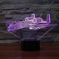 Fsewfs Luz nocturna Avión De Modelado 3D Led Luz De La Noche Usb Avión De Aire Lámpara De Mesa Dormitorio Decoración Niños Regalo Noche Del Bebé Dormir
