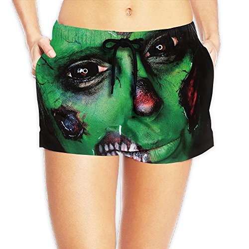 Pusong Women's Halloween Makeup Green Zombies Casual Quickly-dry Beach Board Shorts Sea Entertainment (Halloween Cute Zombie Makeup)