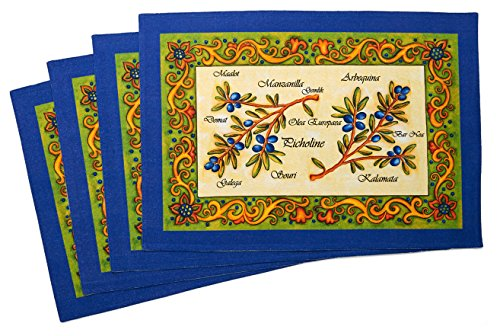 Mediterranean, Tuscany, Italian, Tuscan Olive Cotton Cloth Placemats, Set of 4, Double Layer, Yellow, Blue, Green, 20