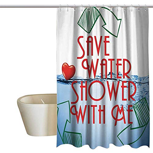 Funny Sexy Kids Bathroom Shower Curtain Invitation Save Water Shower with Me Sexy Decor Recycling Earth Lover Funny Heart Kinky Home Funny Couples Quote Adult Art Print Polyester W72 x L72 Red Blue