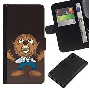 JackGot ( Divertente Lupo Mannaro ) Sony Xperia Z1 L39 la tarjeta de Crédito Slots PU Funda de cuero Monedero caso cubierta de piel