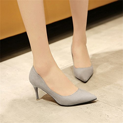 Sexy Pompes talons Shoes Womens Gris Party Point Xianshu Chaussures à Court OL Toe extra Ladies 5qFnf