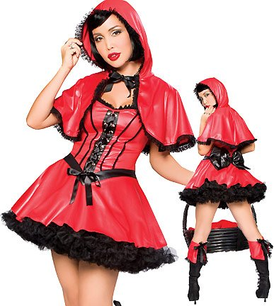 Dark Red Riding Hood (Sexy Dark Little Red Riding Hood Halloween Costume Womens U.S. Small/Medium)